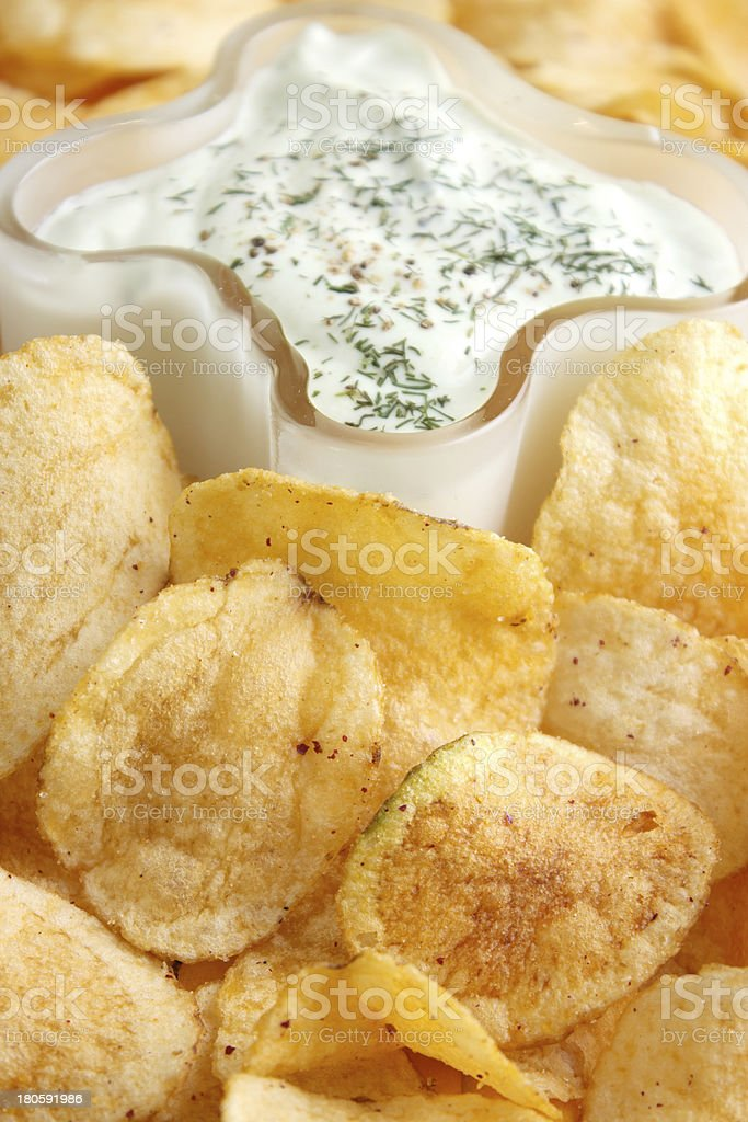 Chips with bowl of dip royalty-free stock photo