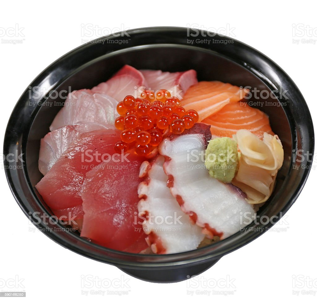 chirashi sushi over rice stock photo