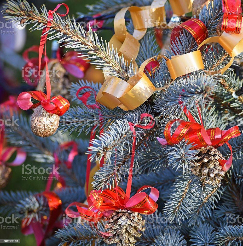 Chiristmas tree with decoration stock photo