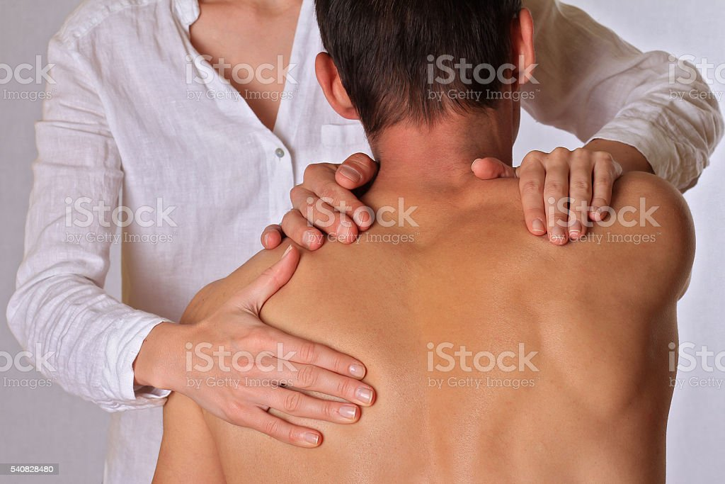 Chiropractic, osteopathy, physical therapy. stock photo