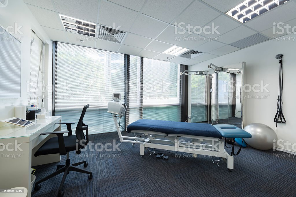Chiropractic Treatment Room and Exercise Station stock photo