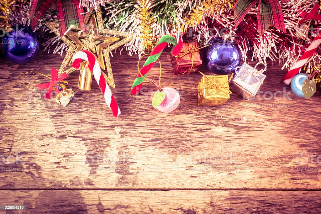 Chirstmas decoration background on wood table royalty-free stock photo