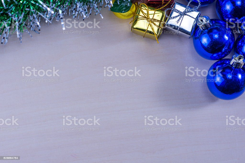 Chirstmas or new year decoration background on wood table royalty-free stock photo