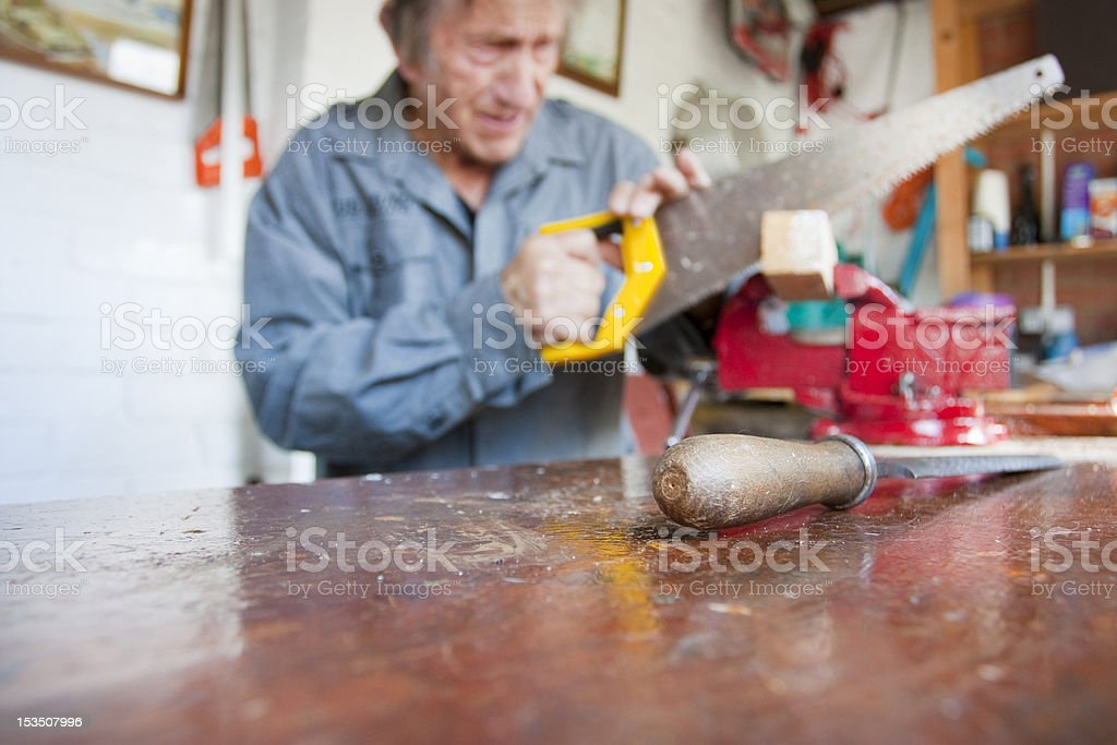 chisel in the foreground of a workshop table, carpenter, carpent stock photo