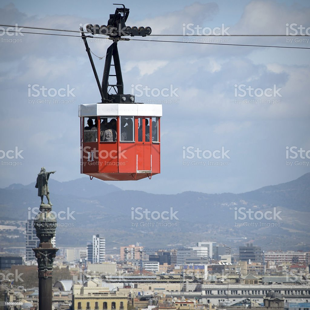 Chistopher Columbus monument in Barcelona ropeway stock photo