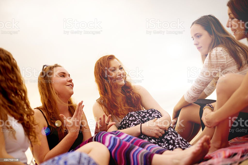 Chit chat with the girls stock photo