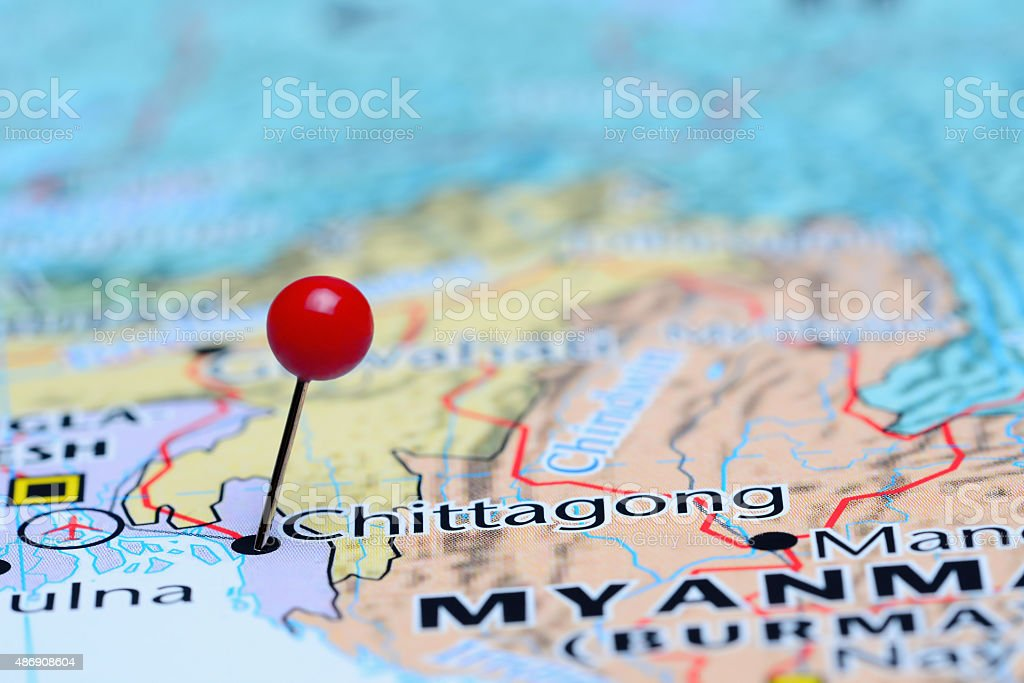 Chittagong pinned on a map of Asia stock photo