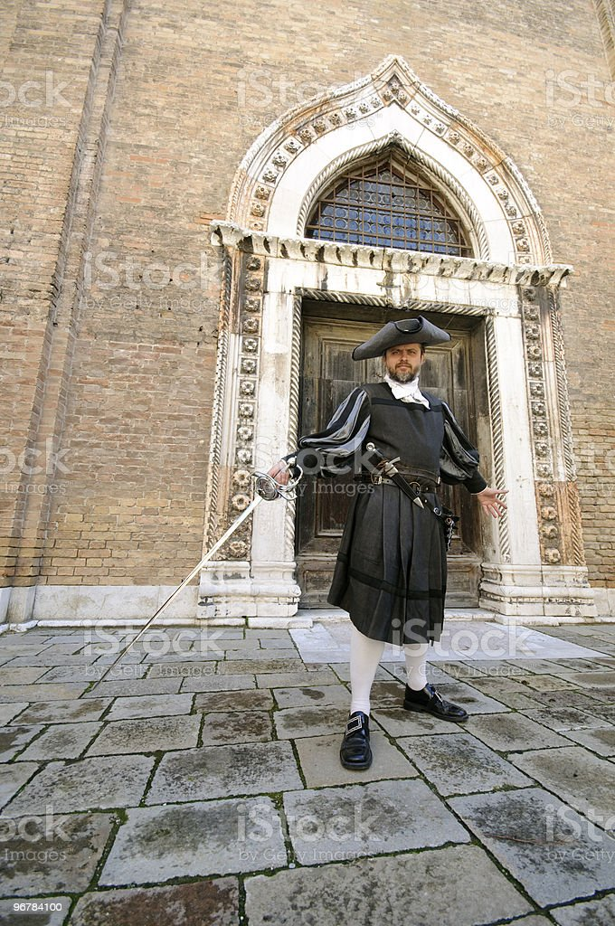 chivalrous gentleman with a sword in Venice stock photo