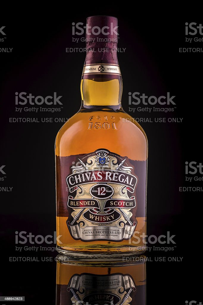 Chivas Regal whisky bottle stock photo