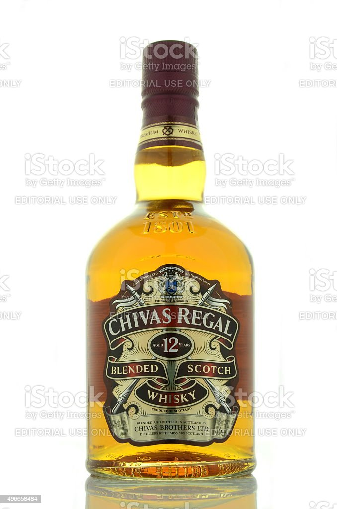 Chivas Regal whisky isolated on white background. stock photo