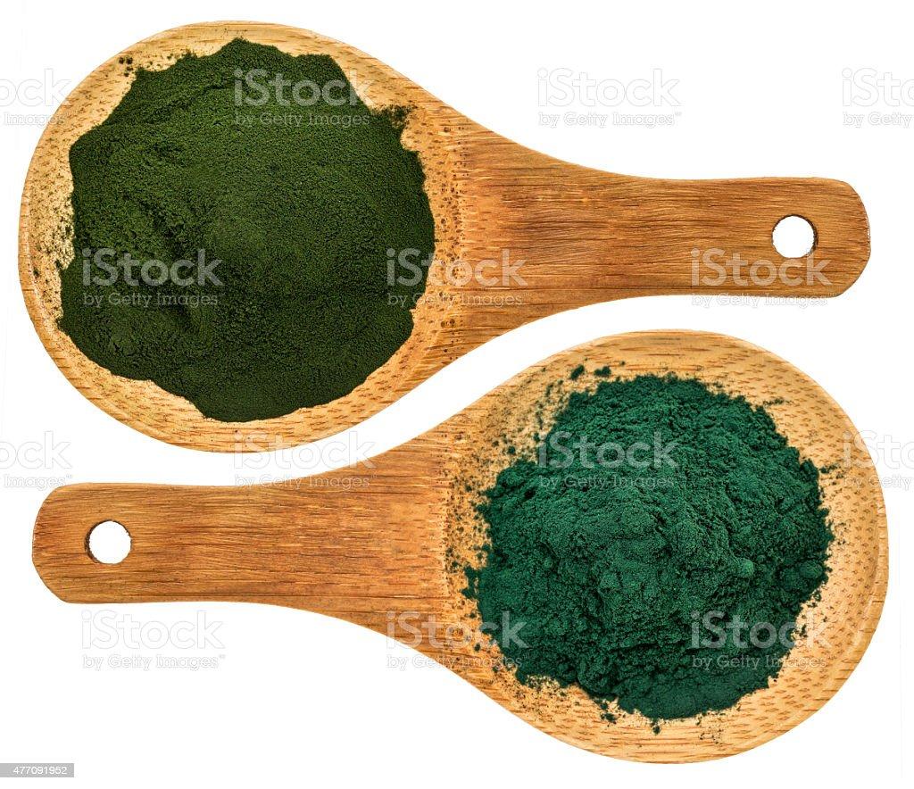 chlorella ans spirulina supplemt powder stock photo