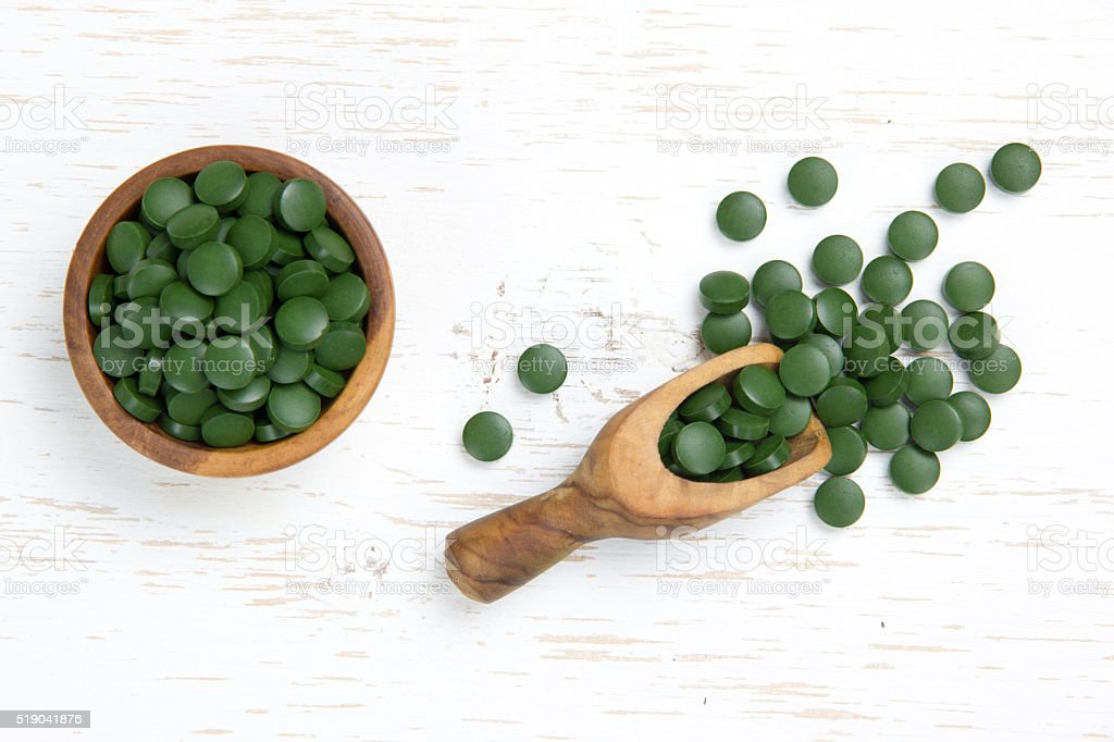Chlorella Pill Heaps stock photo