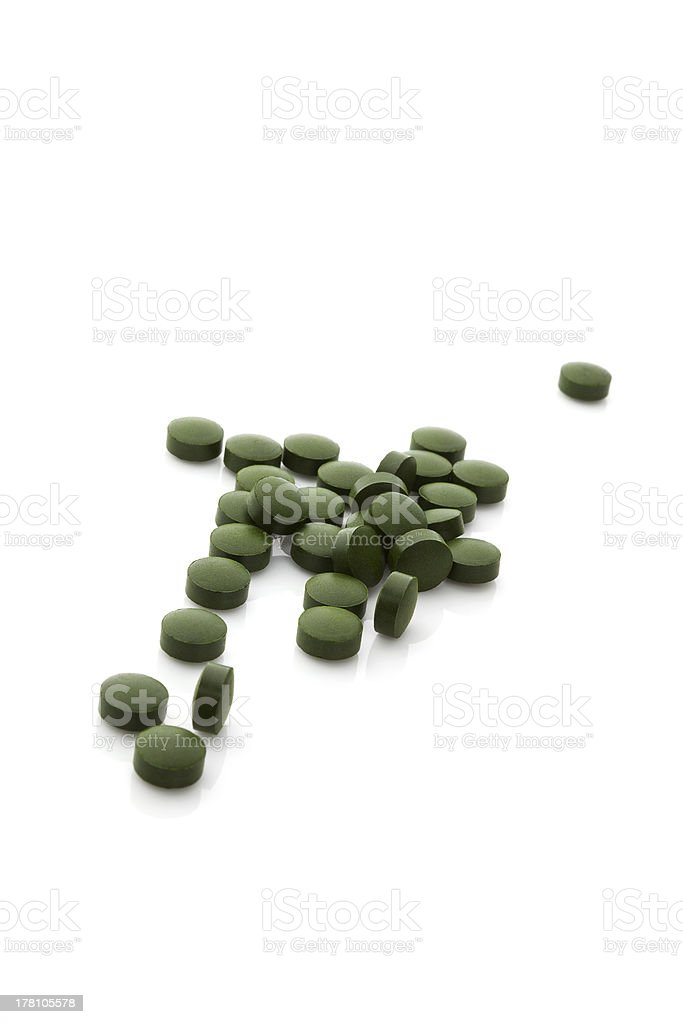 Chlorella pills. royalty-free stock photo