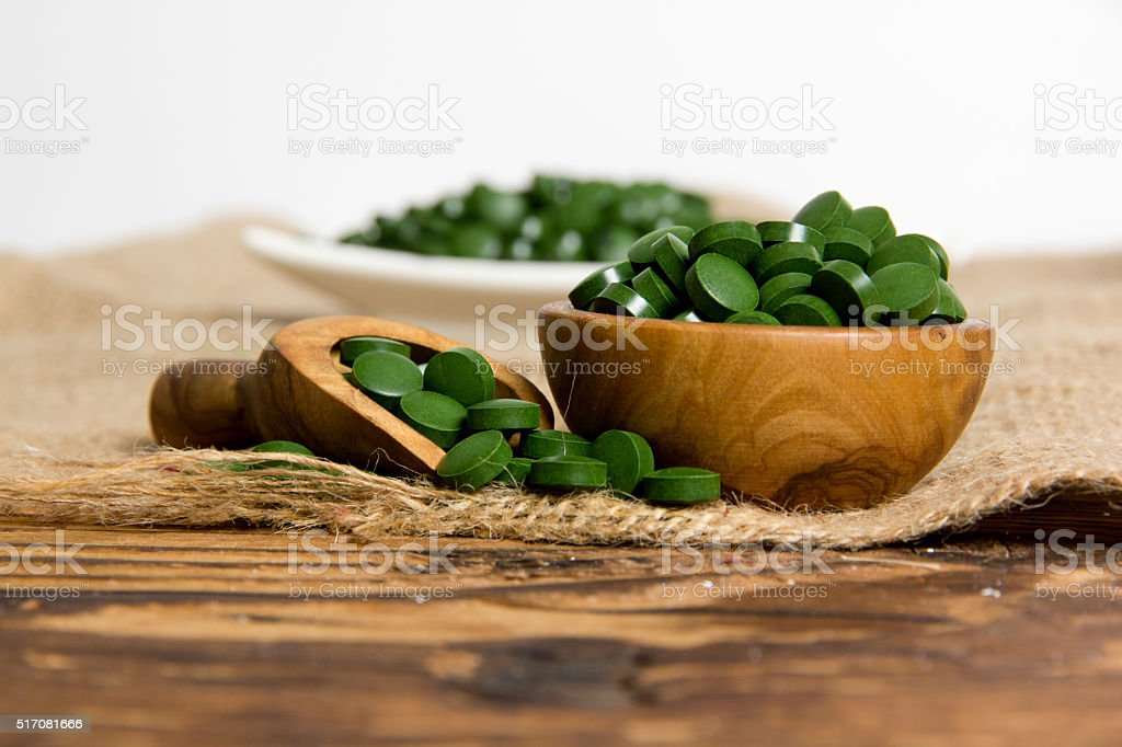 Chlorella pills stock photo