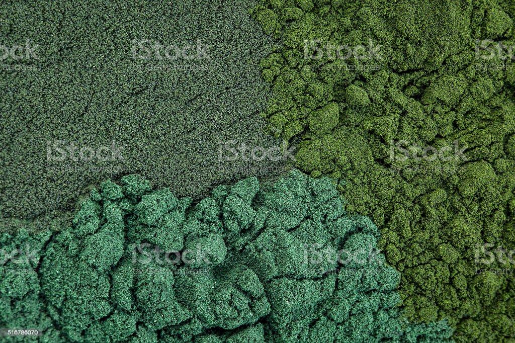 chlorella, spirulina and blue-green stock photo