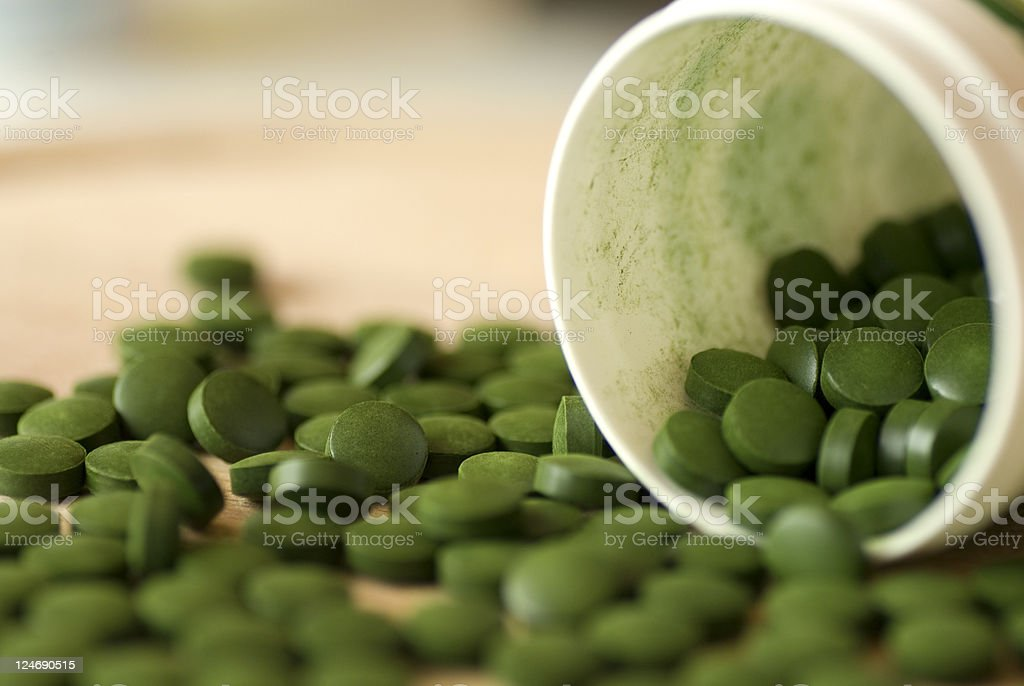 Chlorella tablets stock photo