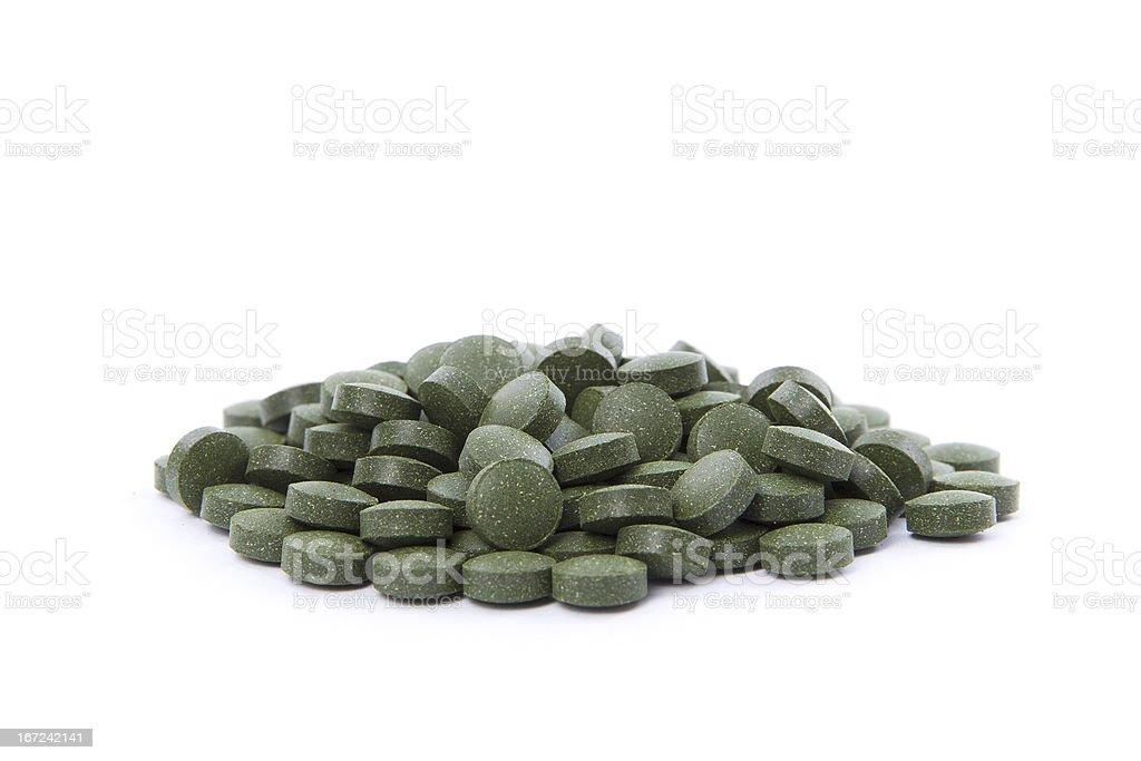 Chlorella tablets royalty-free stock photo