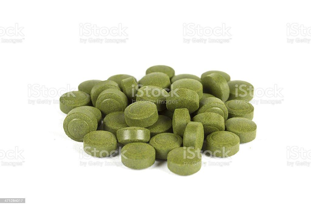 Chlorella tablets stock photo