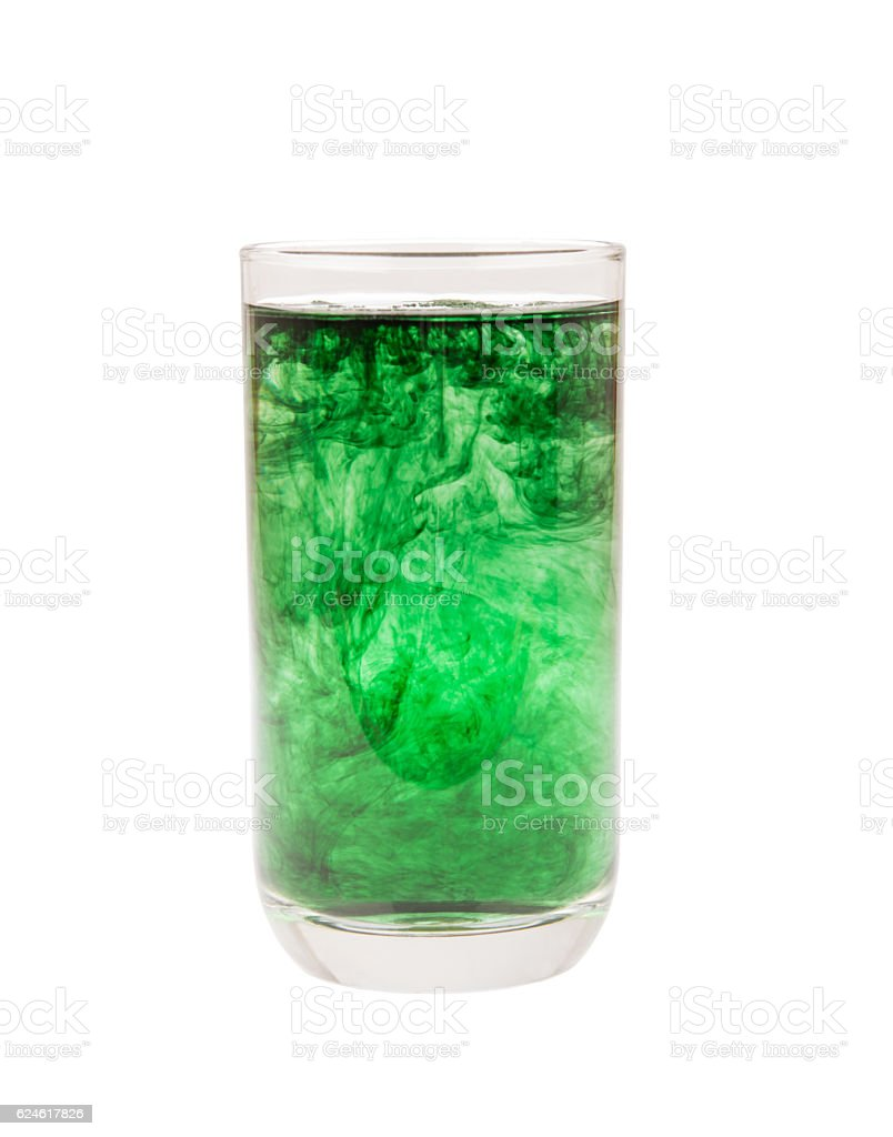 chlorophyll in glass isolated on white background stock photo