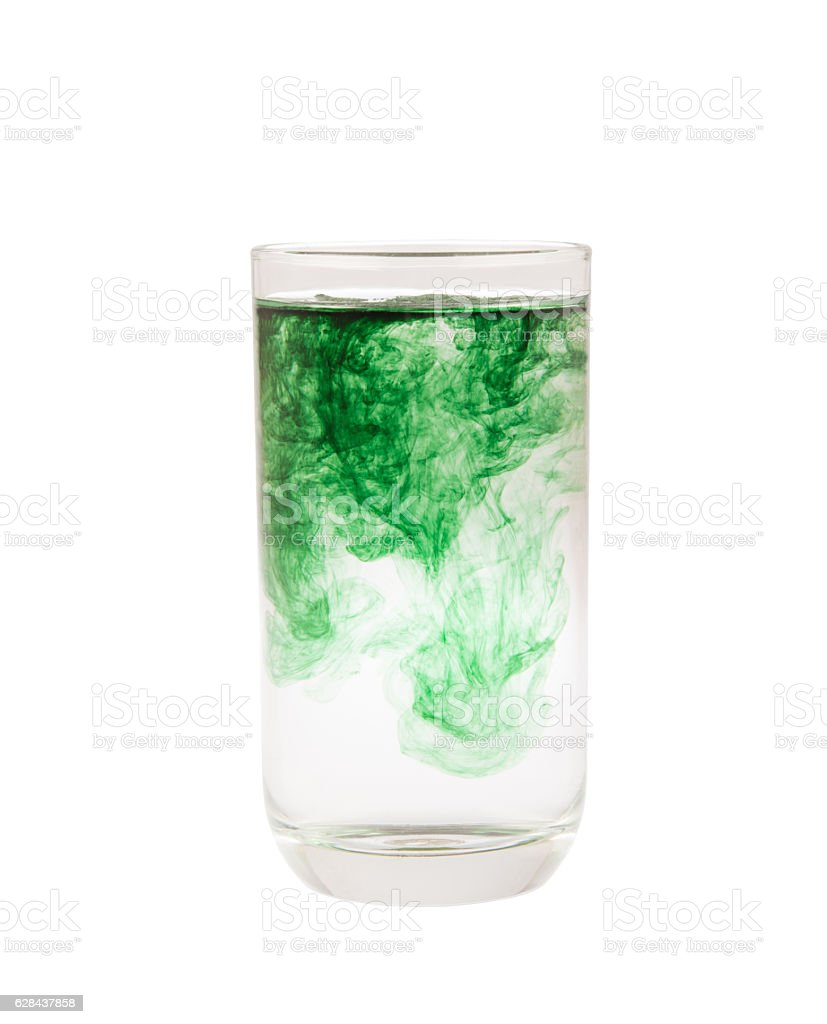 chlorophyll in glass isolated stock photo