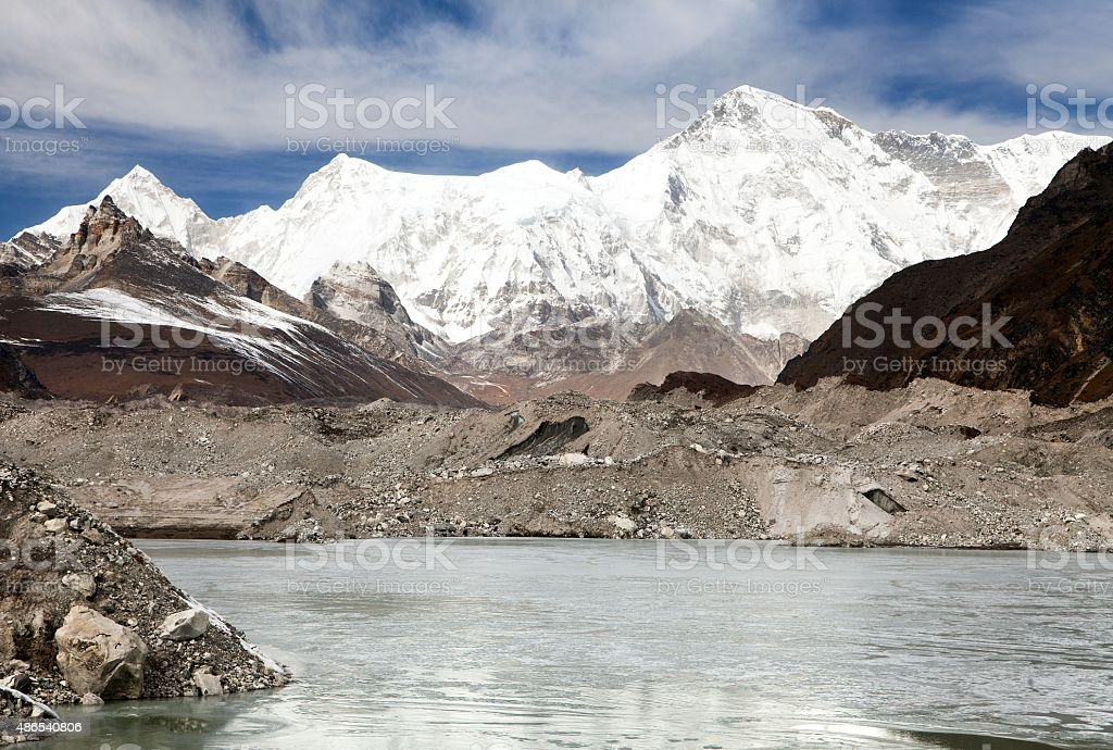 Cho Oyu and lake on Ngozumba glacier near Gokyo village stock photo