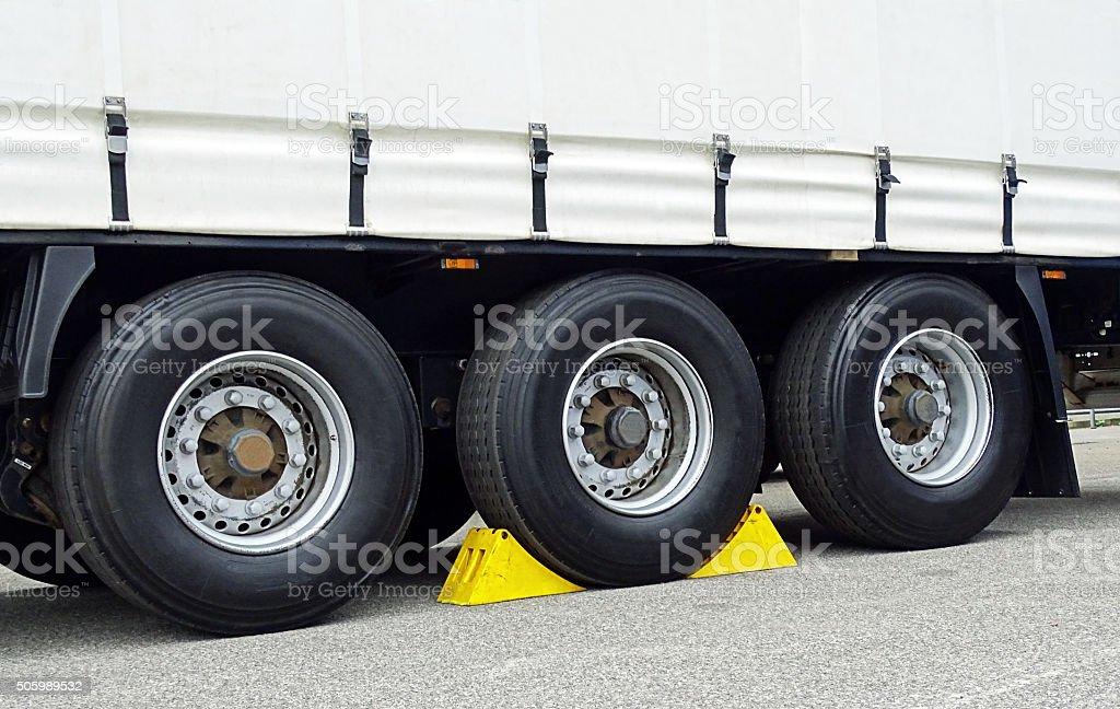 Chocks at wheel stock photo