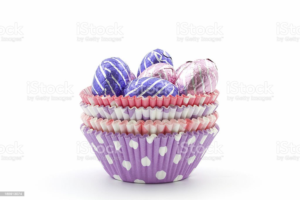 choclate eggs in colorful cups royalty-free stock photo