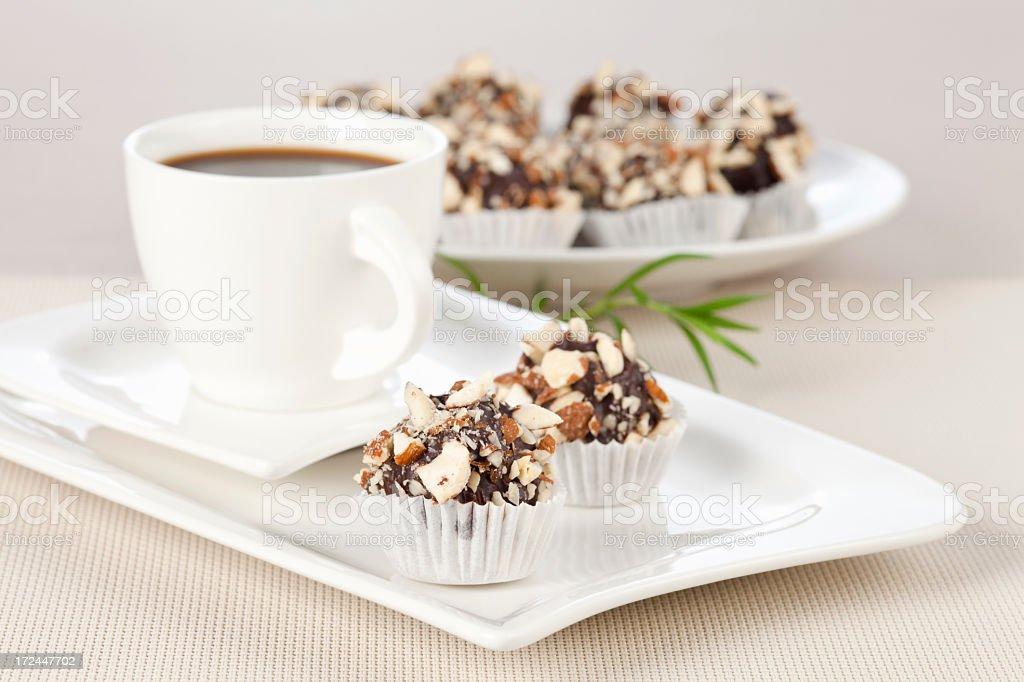 Choco dessert and coffee royalty-free stock photo