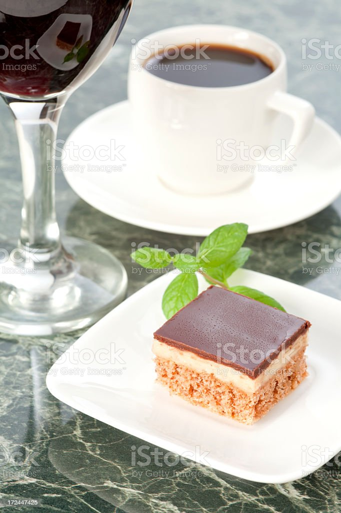 Choco dessert with wine and coffee royalty-free stock photo