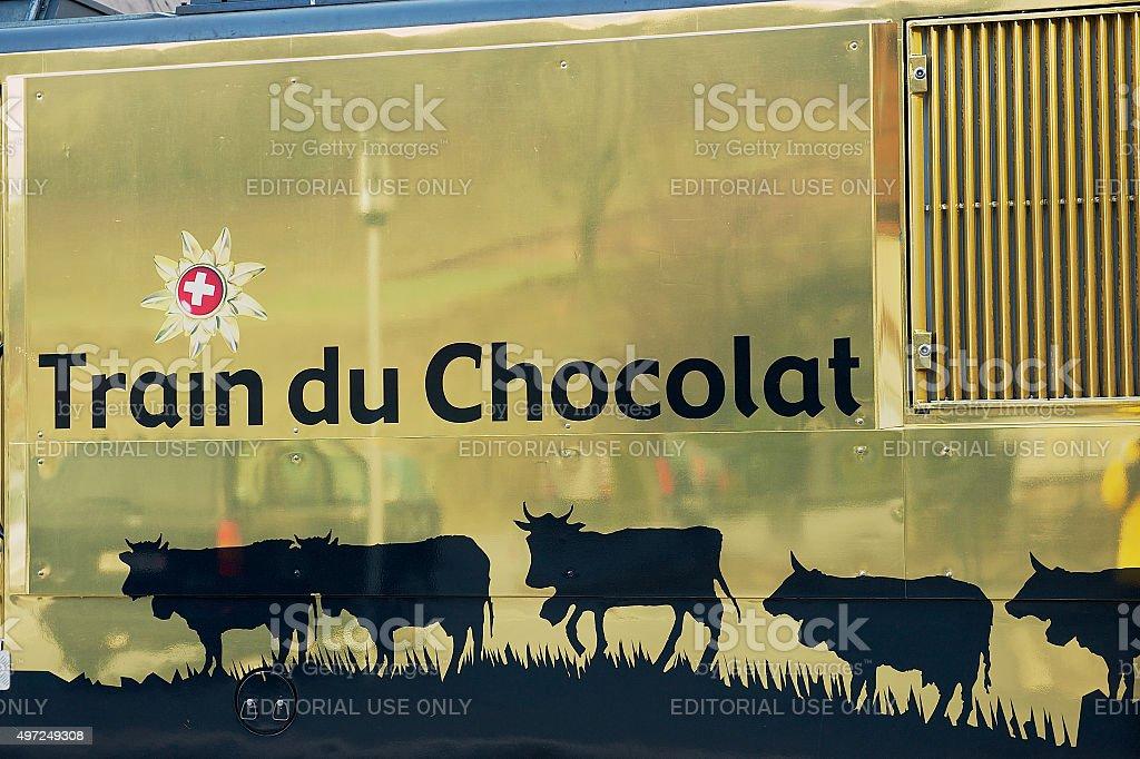 'Chocolade' Golden Pass train locomotive design. stock photo