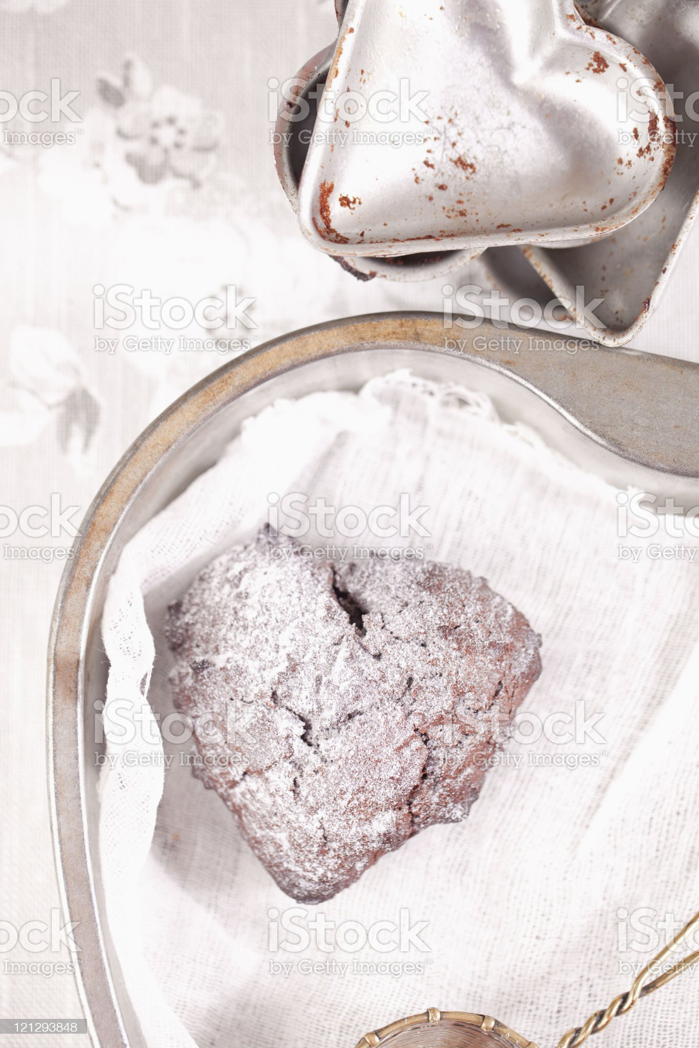 chocolat muffin dusted sugar, heart shape trays royalty-free stock photo