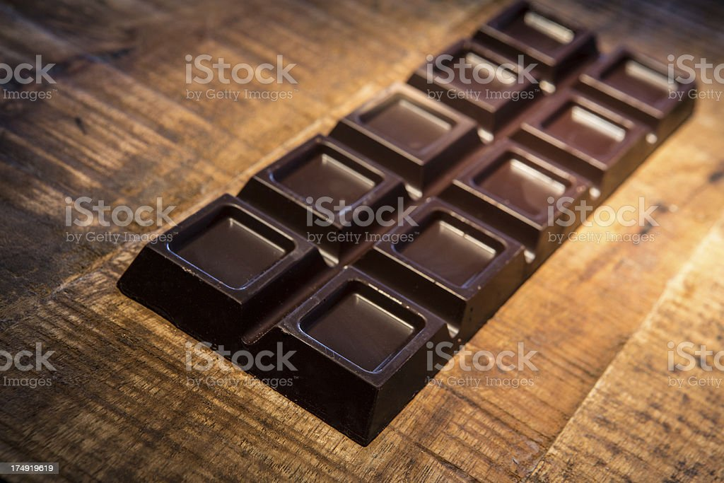 Chocolat over wooden background. stock photo