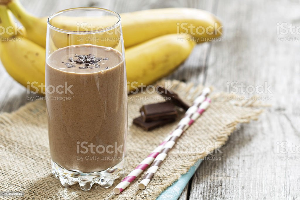 Chocolata banana smoothie stock photo