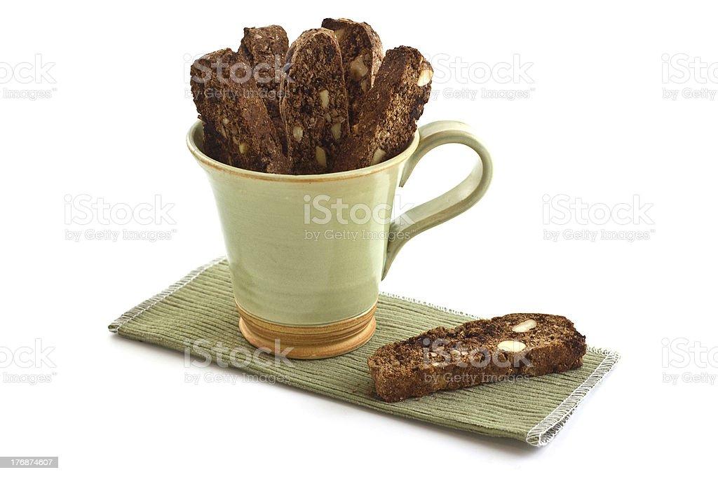 Chocolate Almond Biscotti stock photo