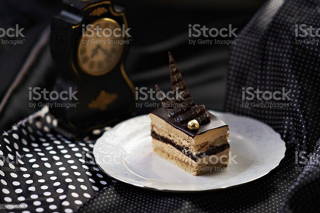 Chocolate almond mousse stock photo