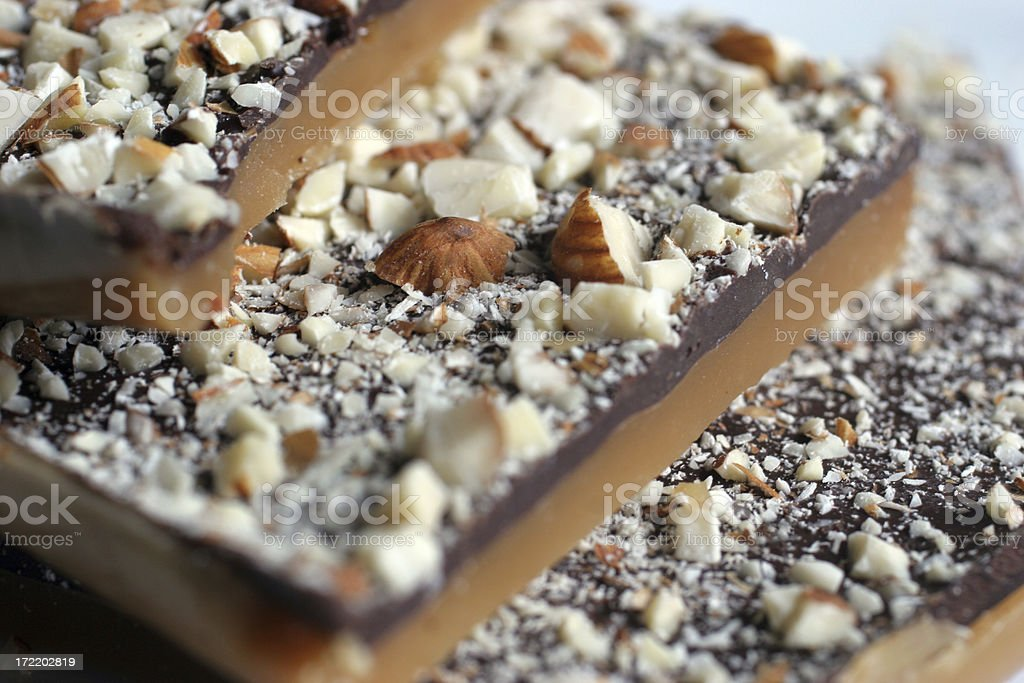 Chocolate Almond Toffee stock photo