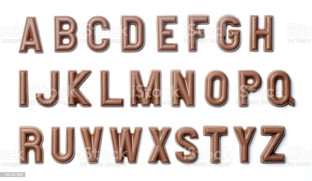 Chocolate alphabet stock photo