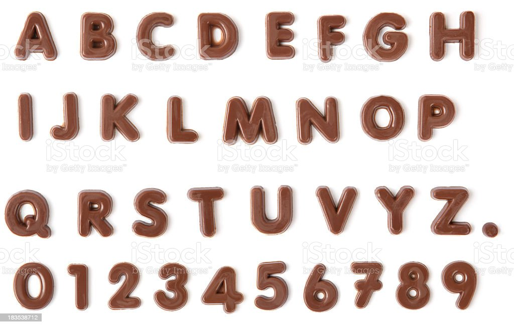 Chocolate Alphabet with clipping path stock photo