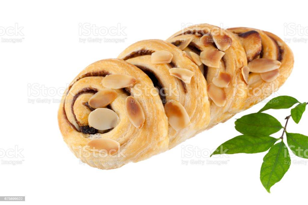 Chocolate and almond brioche buns. stock photo