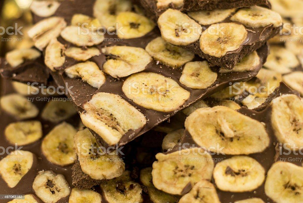Chocolate and banana stock photo