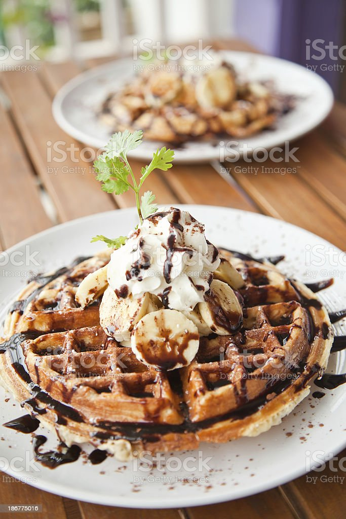 Chocolate and Banana Waffles stock photo
