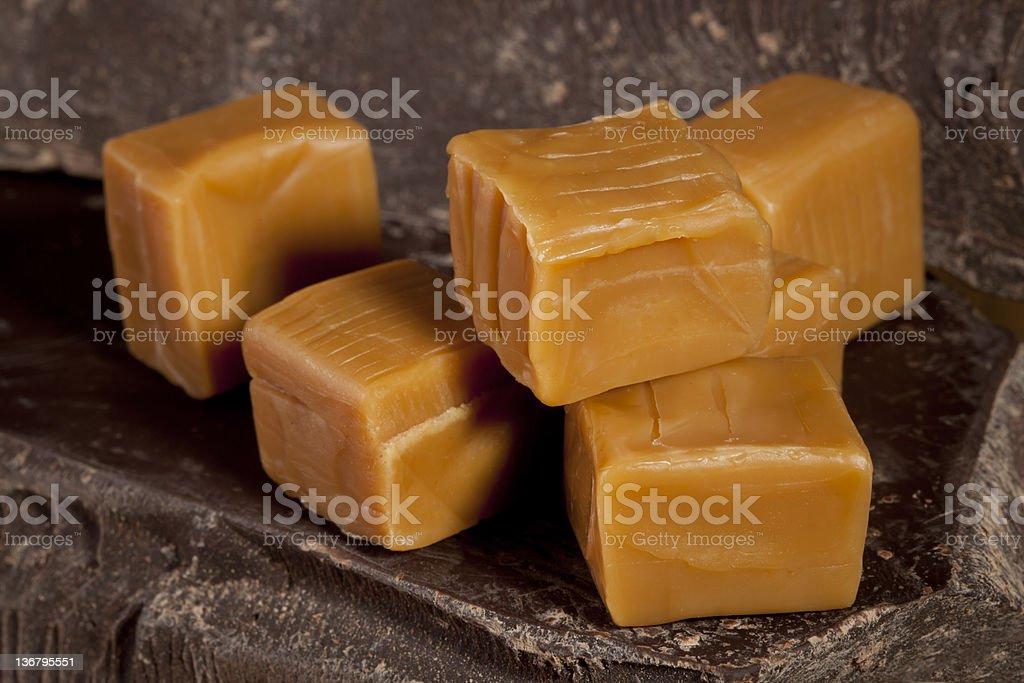 Chocolate and caramel cubes stock photo