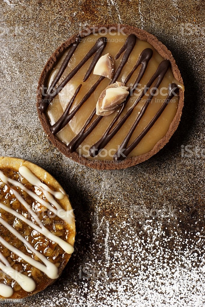 Chocolate and Caramel Tart royalty-free stock photo