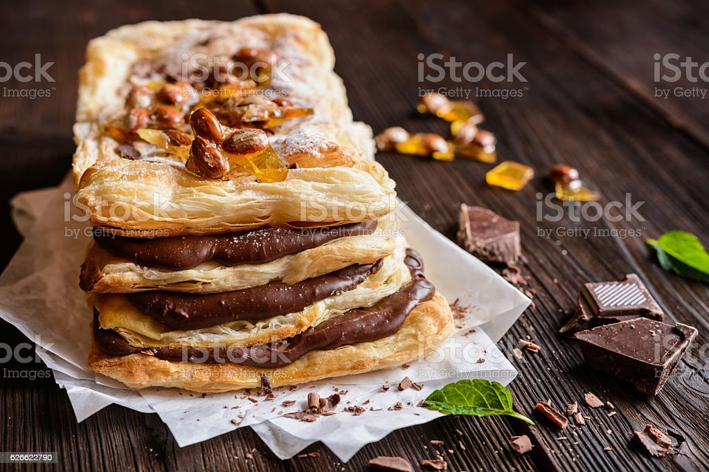 Chocolate and caramelized almond Mille-feuille stock photo