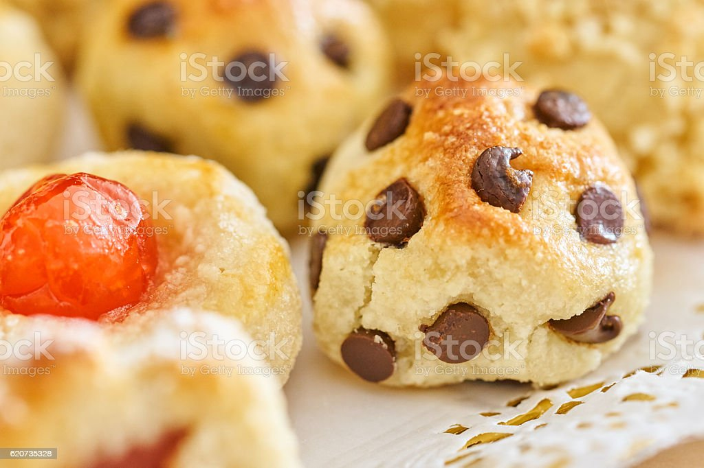 Chocolate and cherry panellets macro stock photo