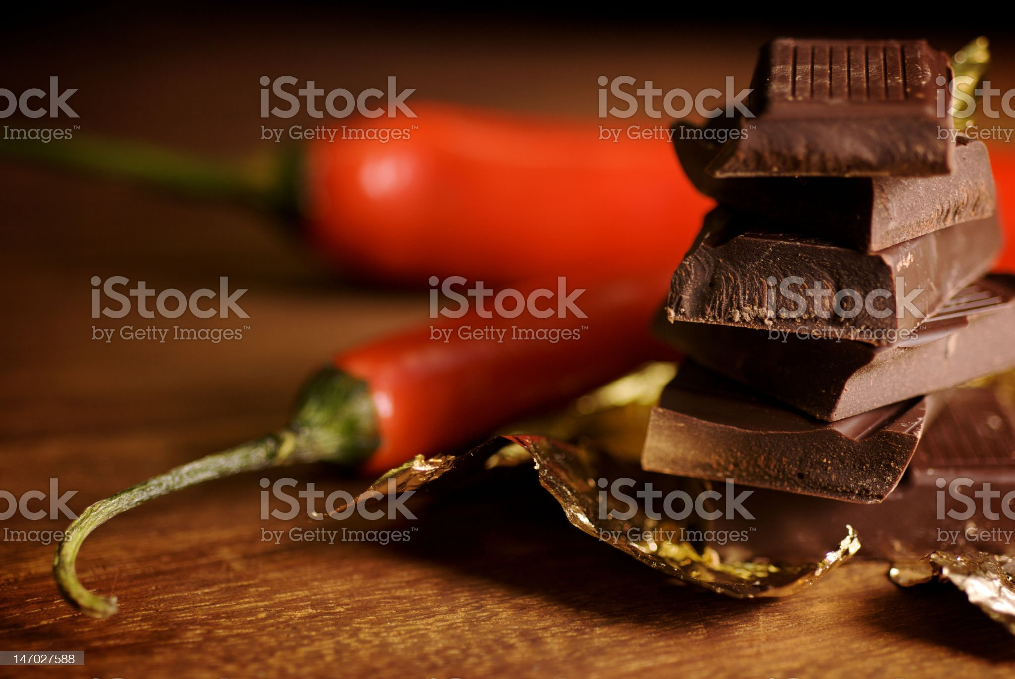 chocolate and chilies royalty-free stock photo