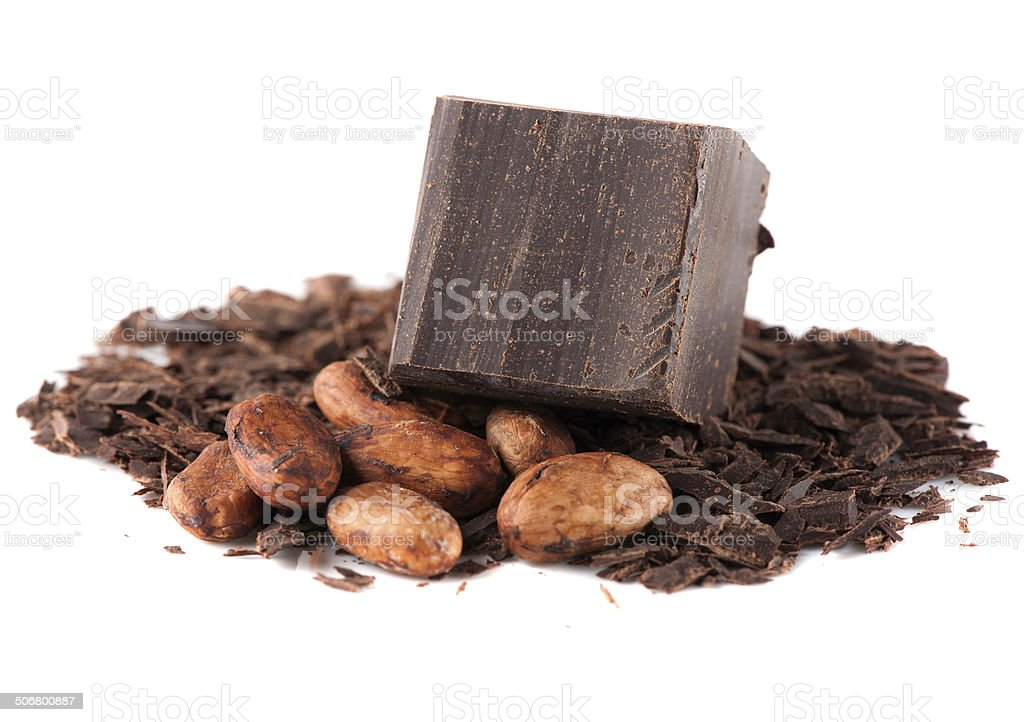 Chocolate and cocoa beans stock photo