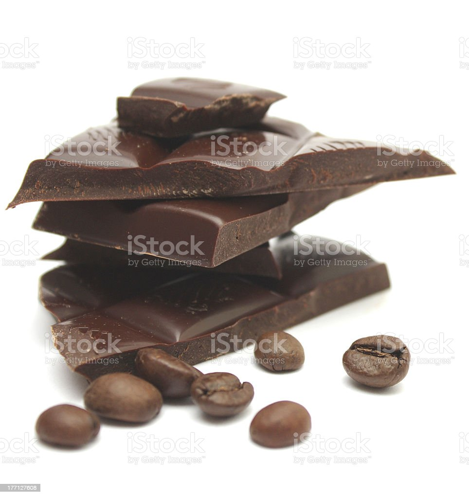 Chocolate and coffee beans. stock photo