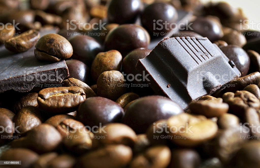 Chocolate and coffee beans royalty-free stock photo