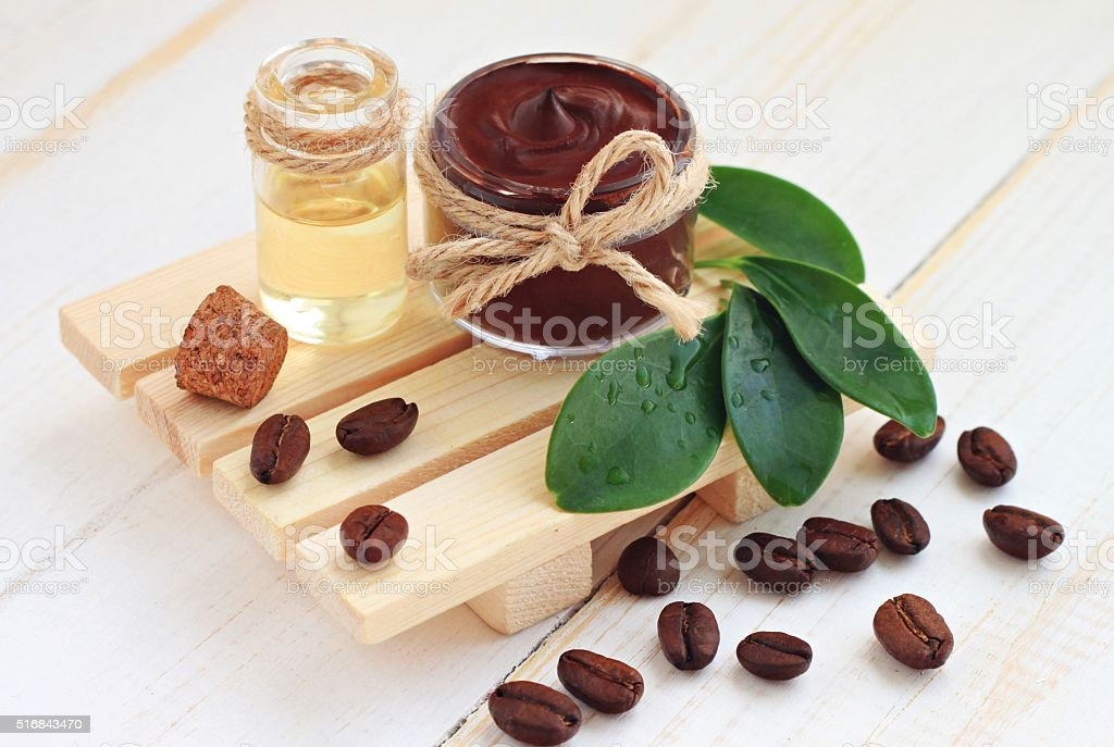Chocolate and coffee skin treatment stock photo
